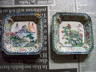 § Antique Asian Hand Painted Enamel Square Trinket Decorative Vanity Dish Tray § photo