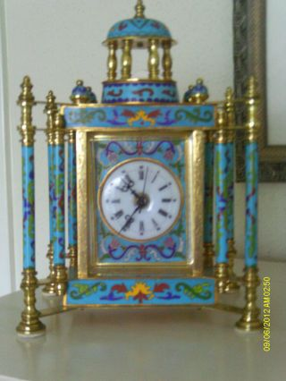 Chinese Cloisonne Mantle Clock Vintage 1920 photo