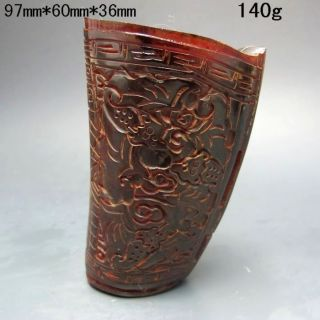 Old Antique 18 - 19th Chinese Ox Horn Hand - Carved Jiao Cup Nr/xb2409 photo