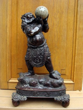 Antique Asian Chinese Japanese Tibet 19c/18c Bronze Devil Statue Fossil Sphere photo