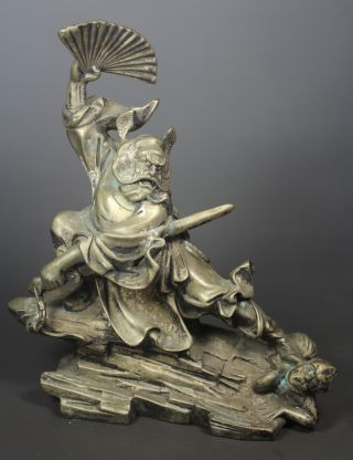 Wonderful Chinese Old Copper Handwork Hammered Folk Hero Statue Collectibles photo
