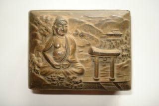 Vintage Collectible Very Old Brass On Copper Buddha Footed Landscape Trinket Box photo