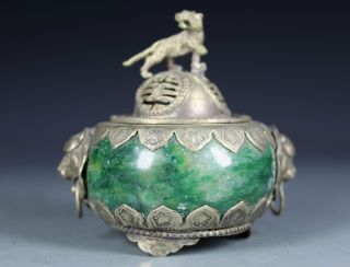 Chinese Old Jade Handwork Leo Incense Burner Tiger Lid photo