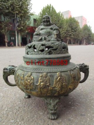 China Buddhism Classical Bronze Eighteen Disciples Of The Buddha Arhat Censer photo