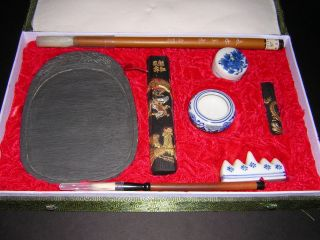 Japan China Asia Boxed Vintage Calligraphy Sumi Set - - Ink Sticks,  Brushes + More photo