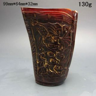 Old Antique 18 - 19th Chinese Ox Horn Carved Bat Jiao Cup Nr/pc2405 photo