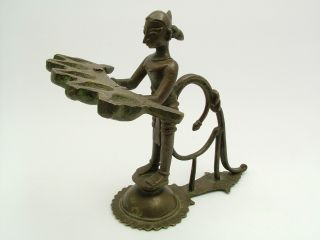 A Fine Antique 19th C.  Indian Standing Bronze Oil Lamp. photo