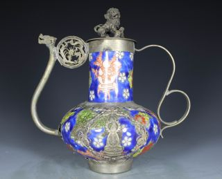 Chinese Handwork Painting Kwan - Yin Kirin Dragon Old Porcelain Tea Pot photo