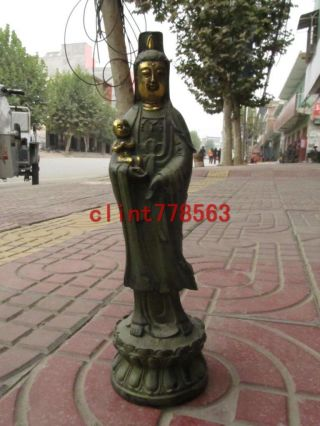 China Tibet Folk Collection Classical Bronze Gilded Songzi Kwan - Yin photo