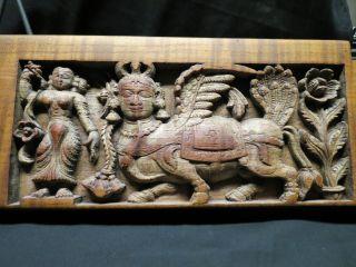 18th - 19th C.  Hindu Kamadhenu Carved Wood Panel From India photo