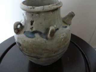 Old Chinese Porcelain Pot With Grey Glaze photo