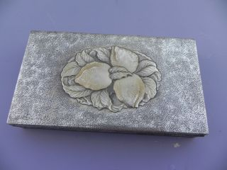 Sterling Silver Signed Antique Japanese Miyamoto Shoko Cigarette Box W Peaches photo