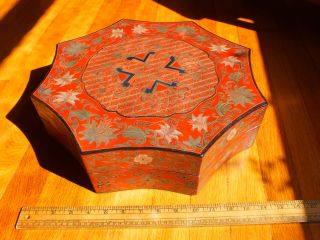 Absolutely Old Chinese Red Lacquer Box - Unusual - Qiangjin And Tianqi?? photo