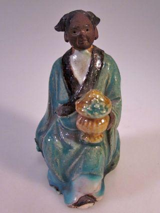 Rare Antique Black Chinese Mudman Carrying Covered Pot - Shekwan - Mudmen C.  1920 photo