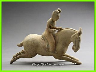 Rare Stunning Chinese Pottery Polo Servant Horse Statue photo