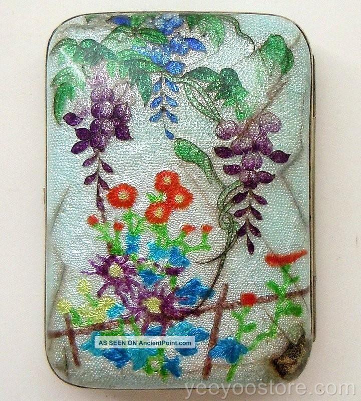 Rare & Fine Japanese Sterling Silver Ginbari Cloisonne Cigarette/card Case - Box Other photo
