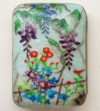 Rare & Fine Japanese Sterling Silver Ginbari Cloisonne Cigarette/card Case - Box photo