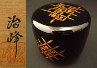Japanese Antique Lacquer Wooden Tea Caddy Shittupo Makie Chu - Natsume By Jiho photo