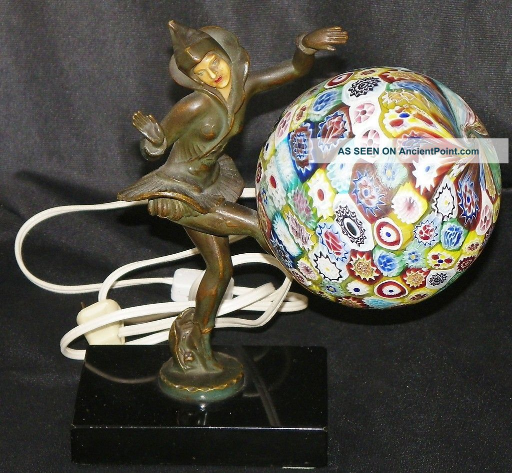 Art Deco Gerdago Dancing Pixie Millefiori Glass Figural Working Lamp On Marble Lamps photo