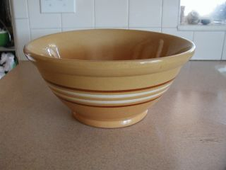 Antique Pottery Dough Mixing Bowl Primitive Large Yellow Ware Mocha Mochaware photo