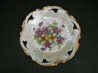 Fancy Luster Bowl Violets `reticulated Embossed Rim W/gold - 7 1/2