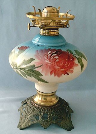 Antique Gone With The Wind Lamp Base With Burner.  3 Mold Hand Painted Flower photo