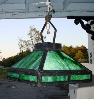 Antique Arts & Crafts Mission Green Slag Glass Hanging Light Fixture N/r photo
