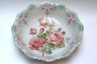 Antique Victorian Leuchtenburg Germany Serving Bowl With Rose Motif 10 Inch photo