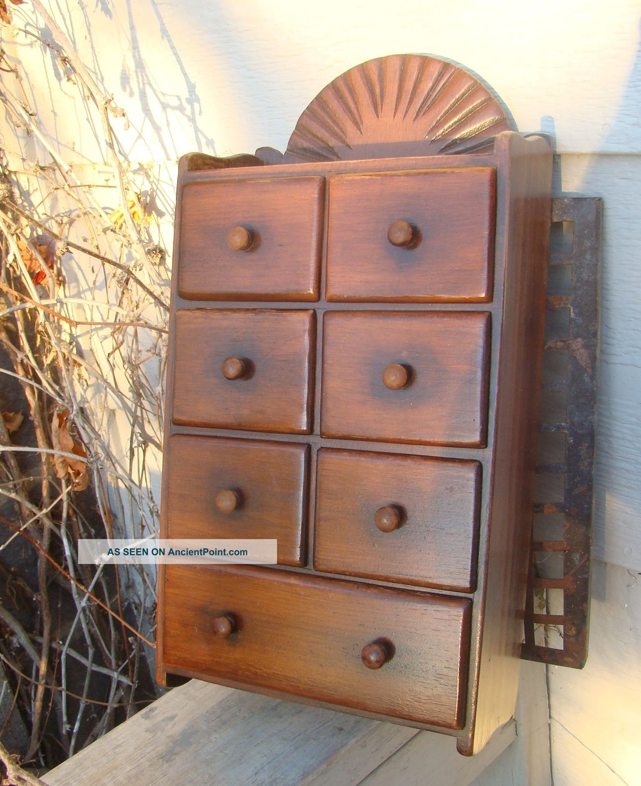 Antique Wooden Wall Hanging Kitchen 7 Drawer Spice Box Wood