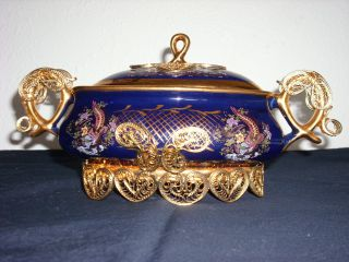 Antique Colbalt Blue & Gold Filagree Footed Serving Dish/gravy Boat photo