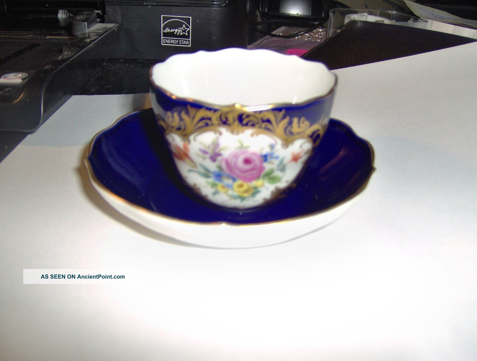 19th Century Meissen Cup And Saucer (cobalt Blue) Crossed Swords Cups & Saucers photo
