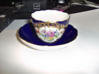 19th Century Meissen Cup And Saucer (cobalt Blue) Crossed Swords photo