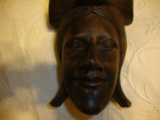 Carved Wood Woman Figure 3 Legged Wood Medicine Crusher ? Old Standing Sculpture photo