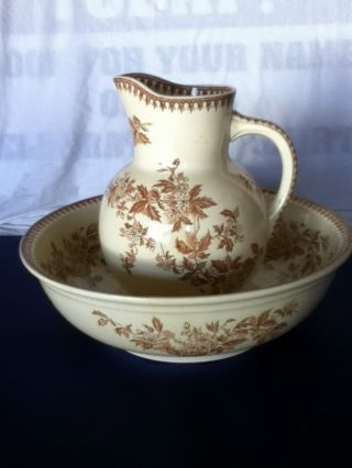 Antique Pitcher & Wash Bowl From Holland - Brown/cream - Societe Ceramique Maastrich photo