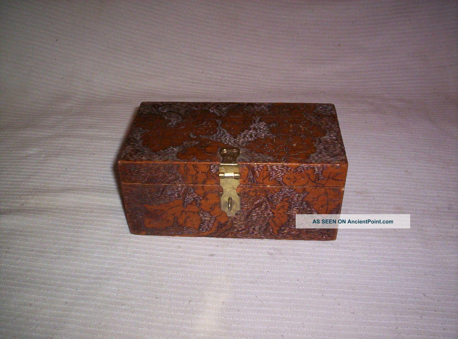 1908 Hand Carved Wood Box Jewelry Keepsake Wood Carving Grape Leaf Design Boxes photo