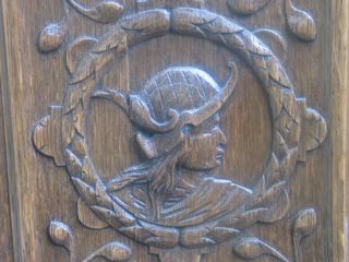 Authentic 19th Century Carved Oak Panel With Human Head. photo