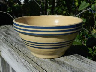 Antique Primitive Yellow Ware Stoneware Mixing Bowl Thin Blue Stripe Unmarked photo