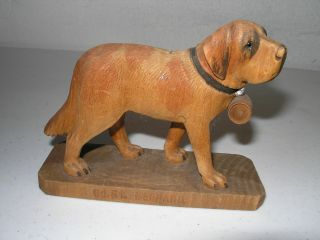 19th C Swiss Carved And Signed Dog photo