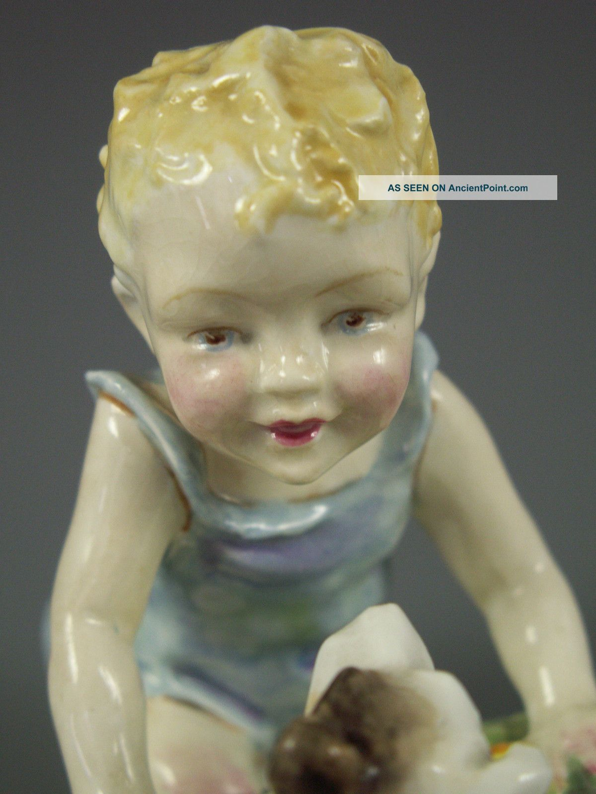 Antique Royal Worcester Doughty Two Babies Child With Dog Figurine Figurines photo