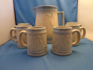 Monmouth Western Stoneware Co Cattail Pitcher & 6 Mugs Salt Glaze Blue Trim photo
