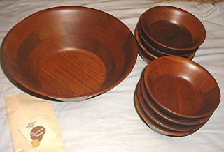 Estate Kustom Kraft Handcrafted Solid Black Walnut Lg Salad Bowl/8 Serving Bowls photo