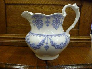 Antique Blue & White 1800 ' S Water Milk Pitcher Wedgwood ? Ridgway photo