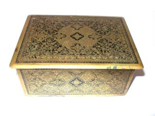 Intricate Designed Brass Box Enamelled Black Wood Inside Stunning photo