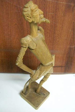 Vtg.  Don Quixote Quijote Wood Carved Carving Folk Art Sculpture Figurine Figure photo