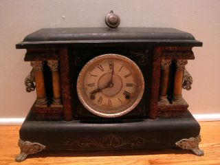 Old Antique Sessions Mantel Clock Adamantine Cathedral Gong4 Pillar - Parts/repair photo