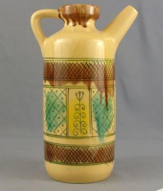 Antique Austrian Glazed Ceramic Art Squared Colourful Handle Pitcher Jug Vessel photo