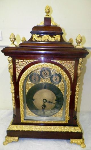 Antique English Triple Fusee Bracket Clock 19th C.  Bells And Chimes photo