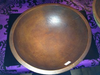 Old Primitive Munising Oval Wooden Bowl - 13. . .  X 13 1/2 photo