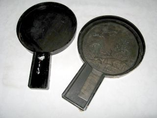 Japanese Bronze Mirror In Wood Box C 1870 photo