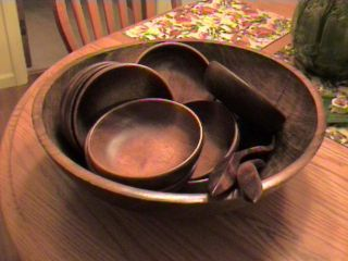 Vtg Huge Salad Bowl W/10 Small Bowls - Utensils/kennedy Bros. ,  Vergennes Vt photo